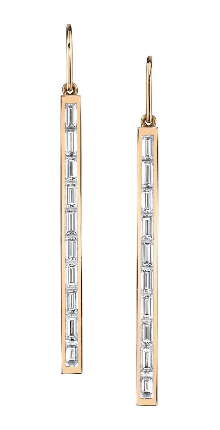 Anita Ko baguette-cut diamond drop earrings, available in white, yellow and red gold
