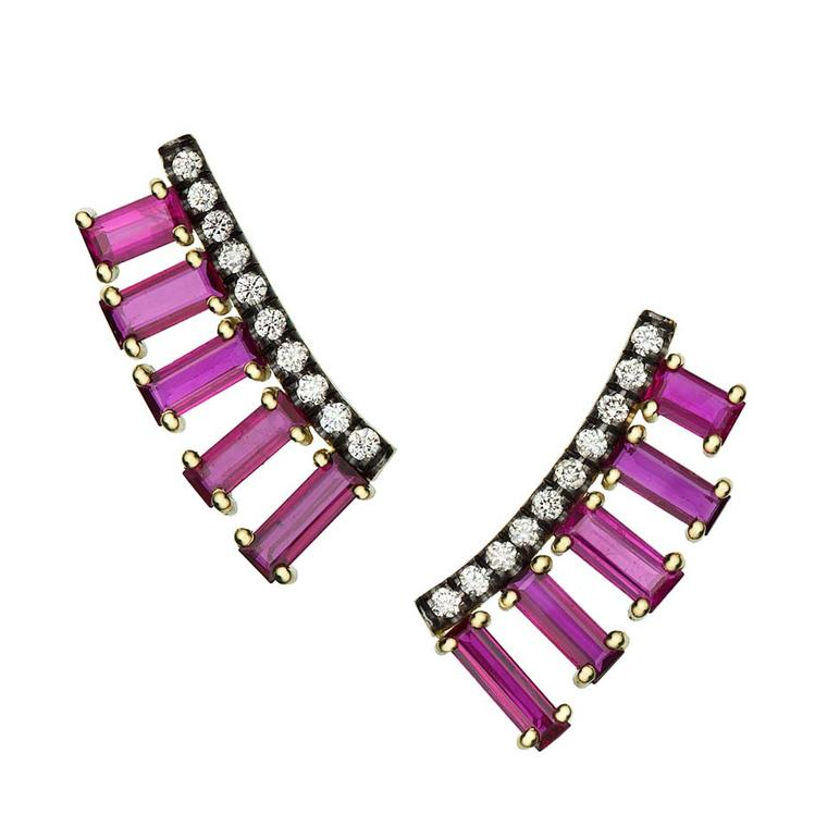 Jemma Wynne Covet ear cuffs with baguette-cut rubies and brilliant-cut diamonds