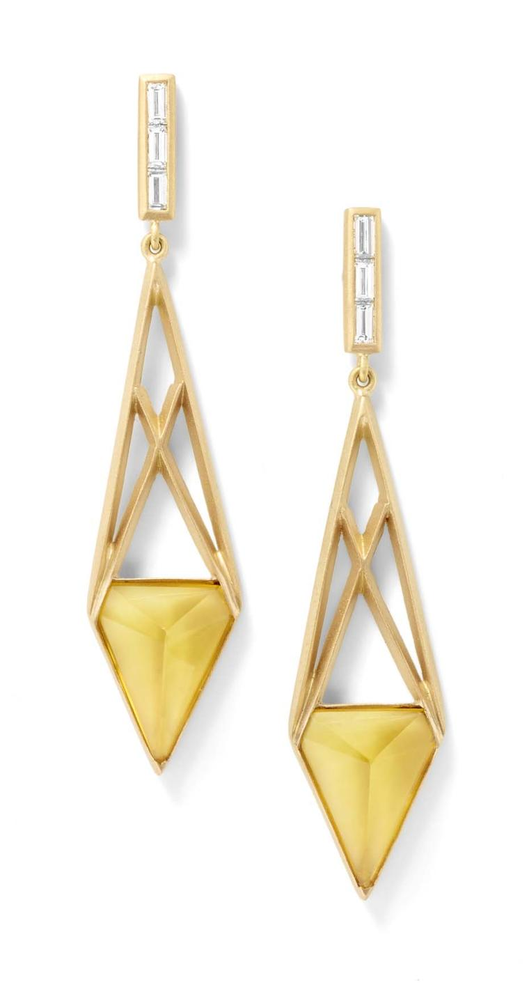 Monique Pean citrine open cage earrings in recycled yellow gold with baguette-cut diamonds