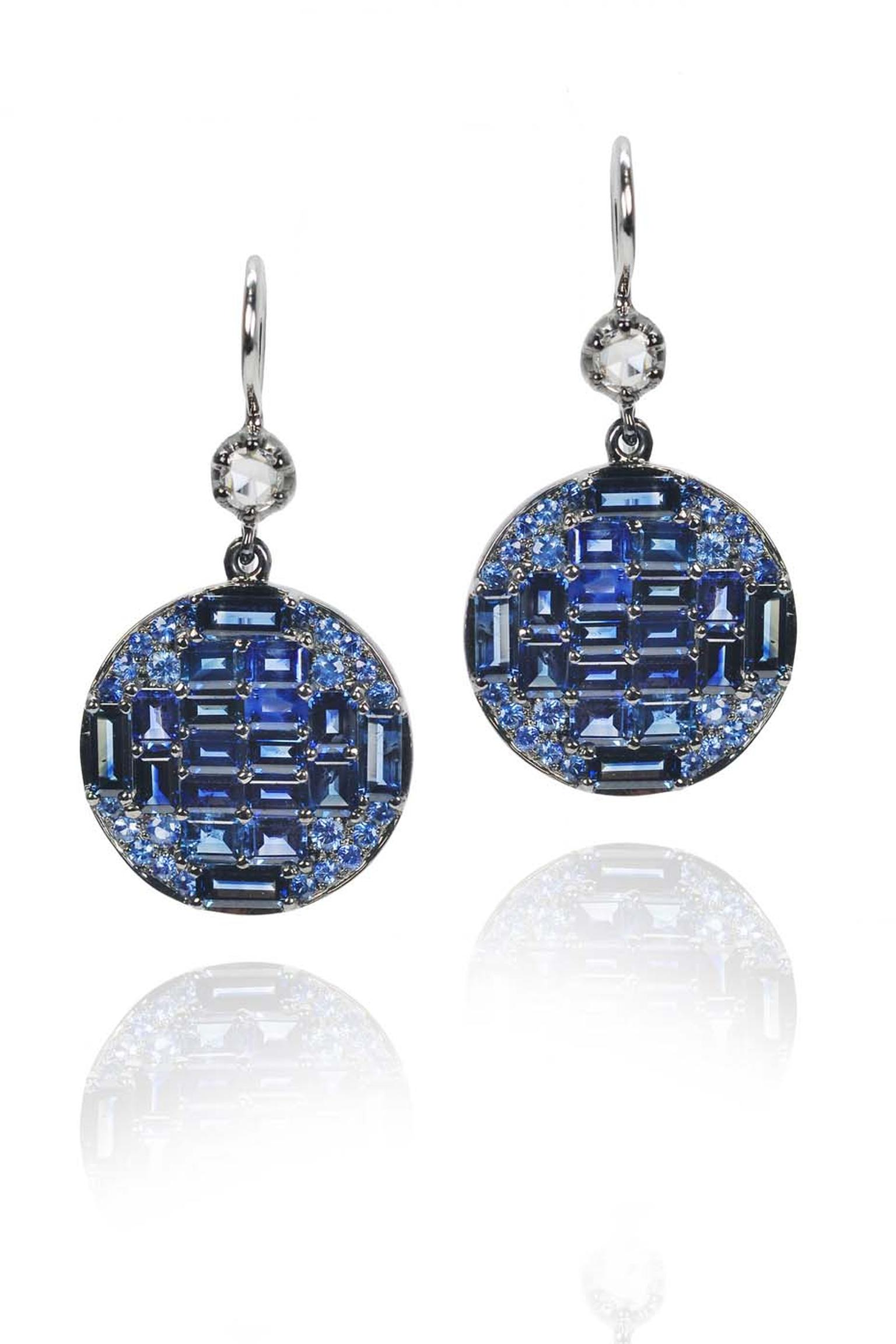 Nam Cho baguette and brilliant-cut sapphire and diamond earrings