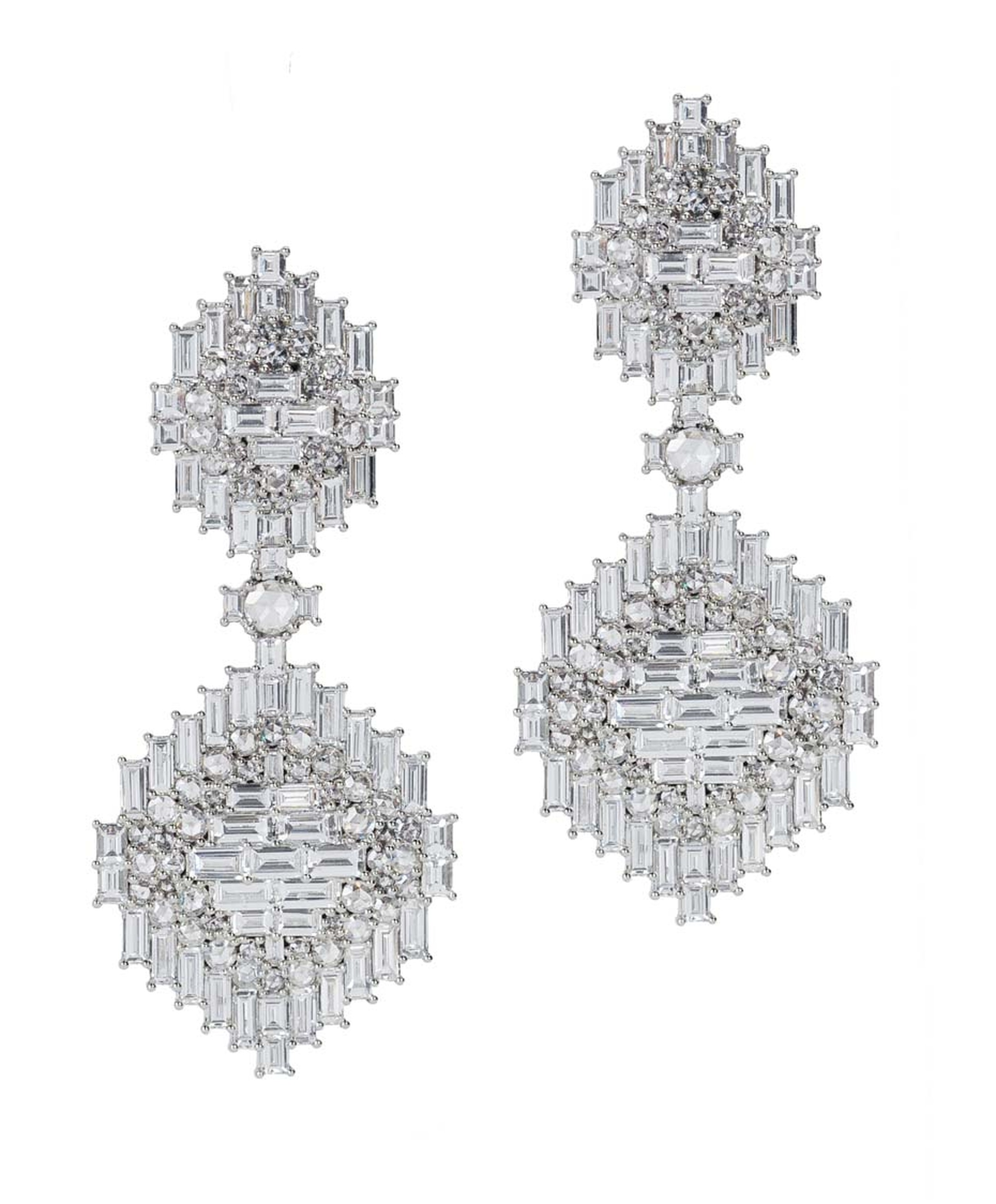Nam Cho Navajo detachable and convertible baguette and rose cut diamond drop earrings