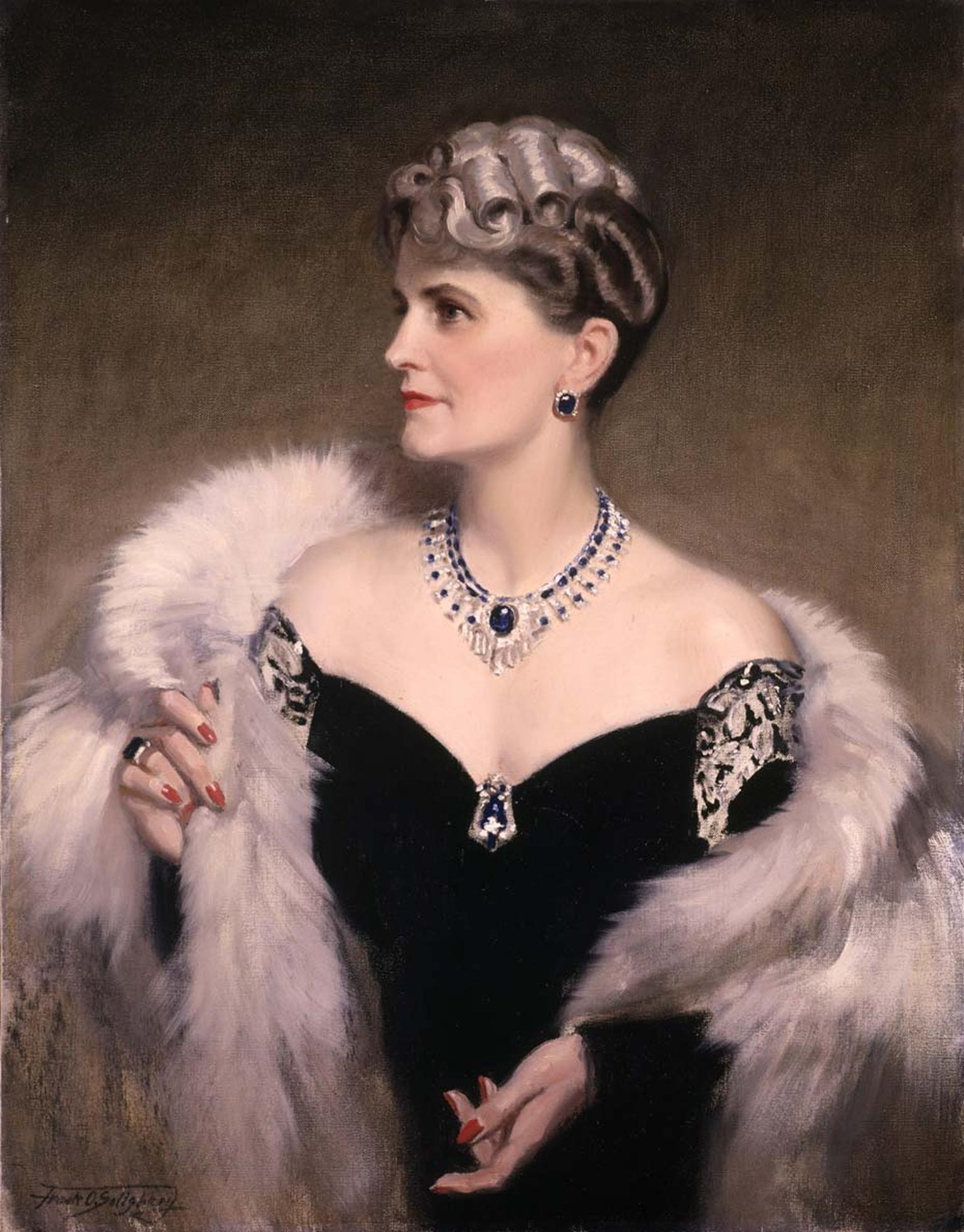 Portrait of Marjorie Merriweather Post wearing her Cartier diamond and sapphire Art Deco necklace. Image: Courtesy Hillwood Estate, Museum and Gardens