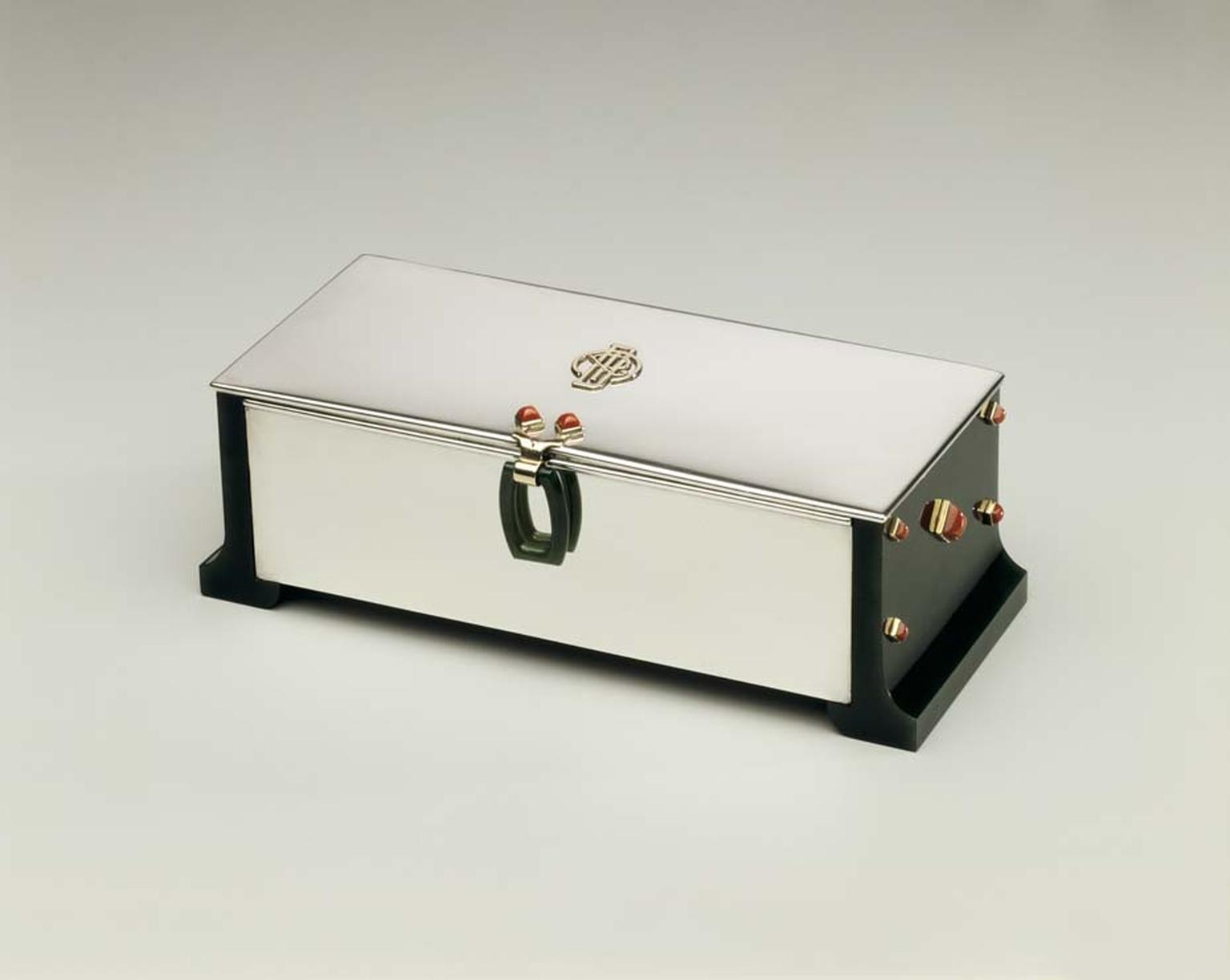 Cartier 1935 Monogrammed Box with silver, jade and coral. Image: Courtesy Hillwood Estate, Museum and Gardens