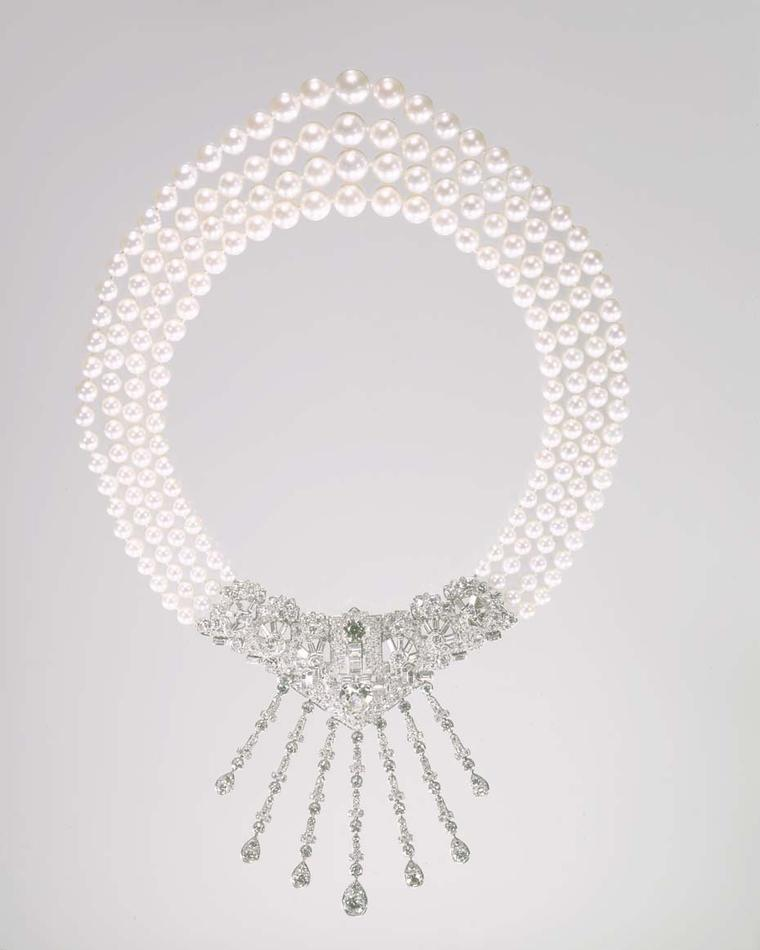 The 1963 Cartier three-strand Caro Yamaoka pearl necklace worn by Marjorie Merriweather Post in a photograph. Image: Courtesy Hillwood Estate, Museum and Gardens