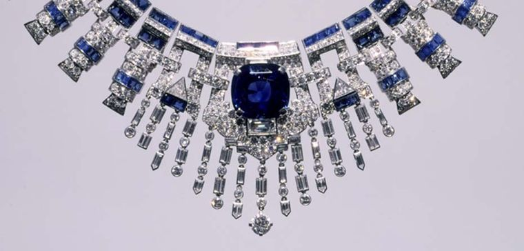 The Cartier sapphire and diamond necklace displays a precise geometric form and is an exceptional example of the Art Deco pieces for which Cartier is famed. Image: Courtesy Hillwood Estate, Museum and Gardens