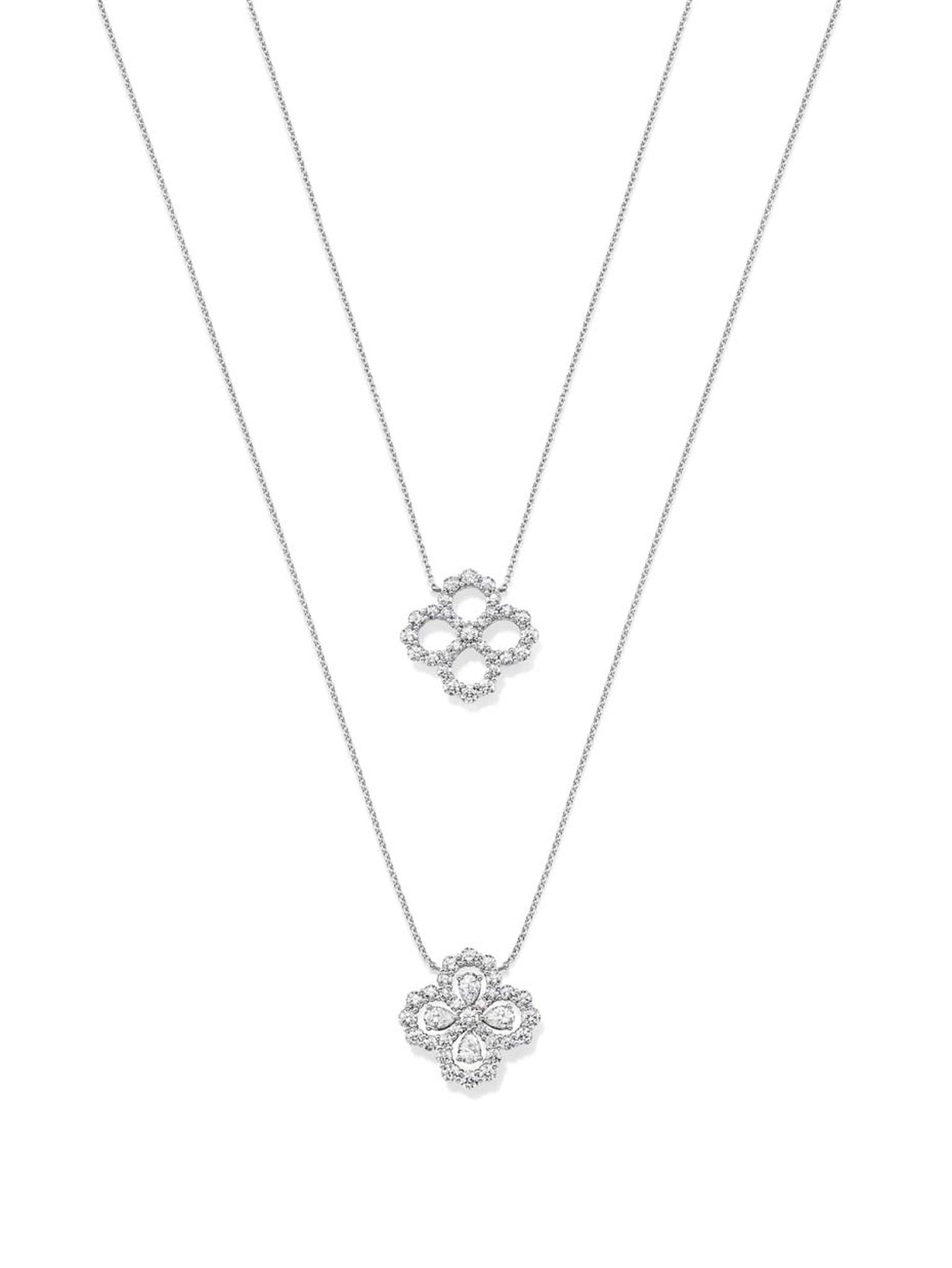 Harry Winston platinum Diamond Loop collection pendants with or without additional diamonds within the teardrop motif.