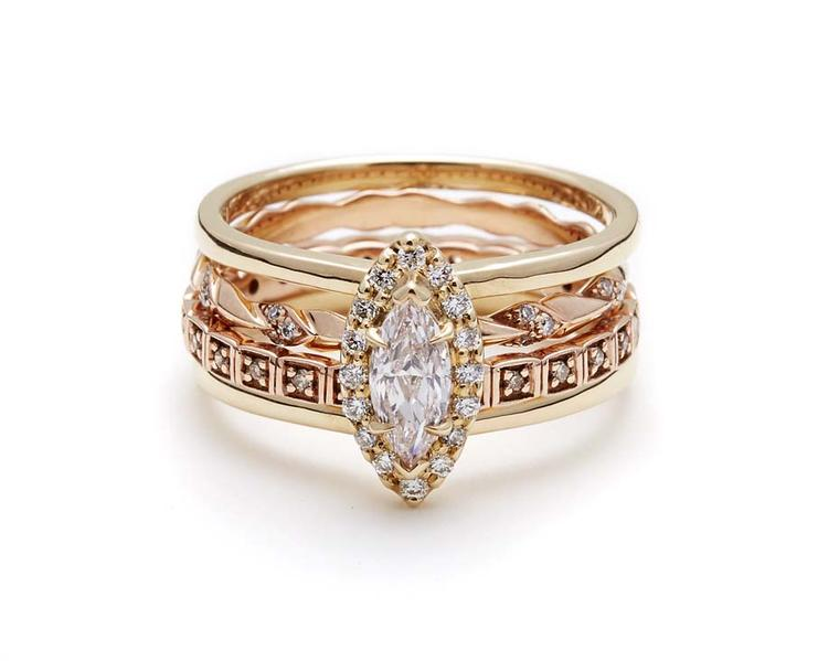 Anna Sheffield Attelage Marquise Diamond Bridal Set with a central marquise-cut diamond encircled with prong-set diamonds on a double-banded harness ring in rose gold