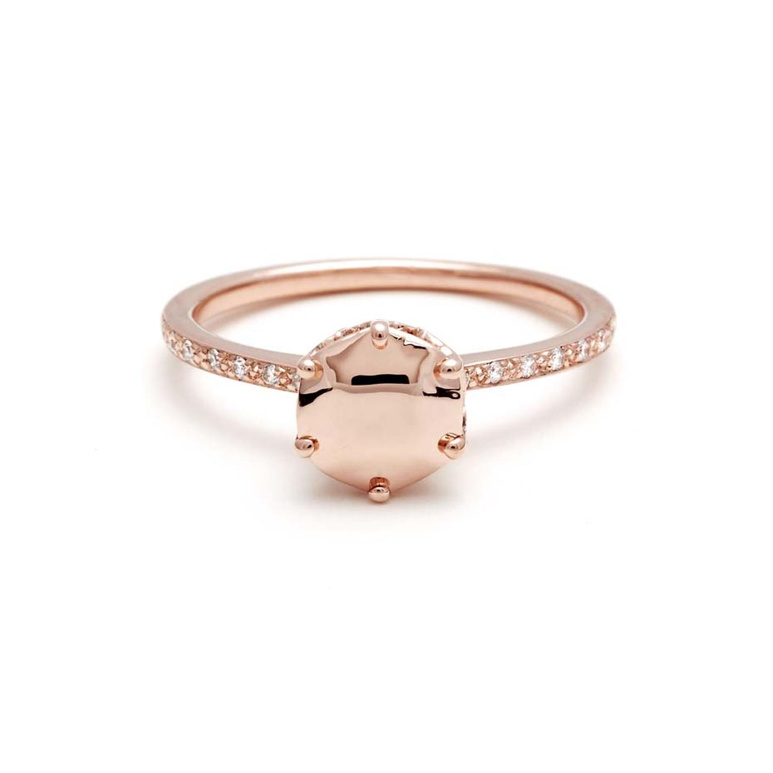 "Anna Sheffield diamond dusted Hazeline Solitaire ring with a solid rose gold ""gemstone"" centre. A champagne diamond is hidden inside the band"
