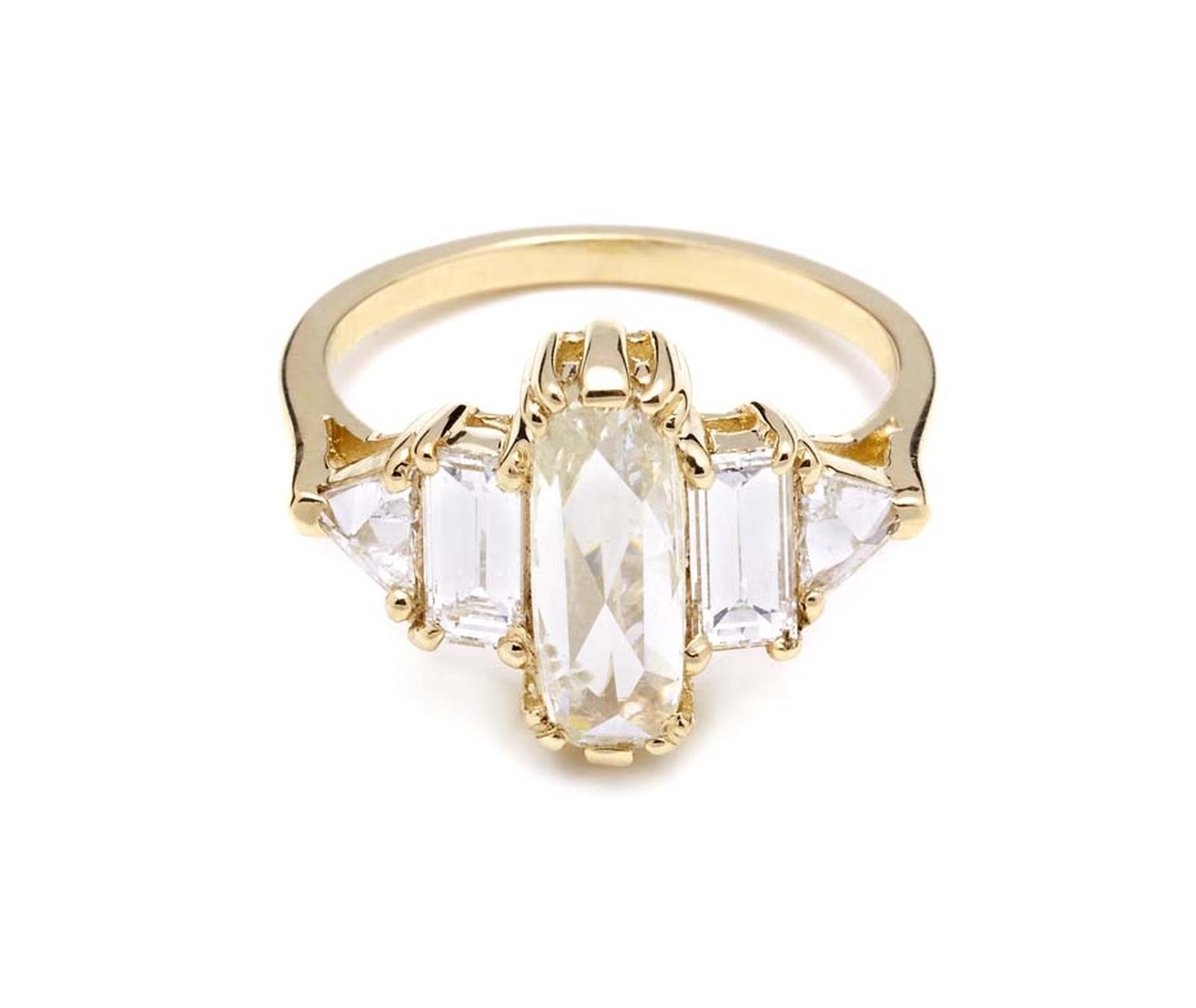 Anna Sheffield Theda ring, with a central elongated rose-cut pale yellow diamond flanked by four white diamonds in yellow gold