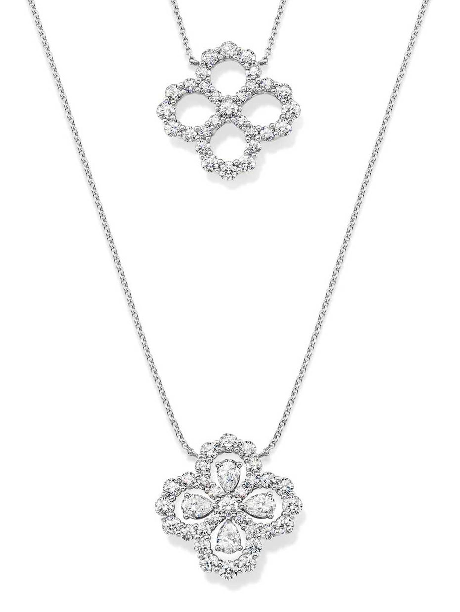 Harry Winston platinum Diamond Loop collection necklaces.