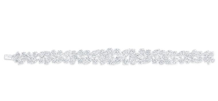 Graff Rhythm collection platinum bracelet featuring brilliant, pear and marquise-shaped diamonds