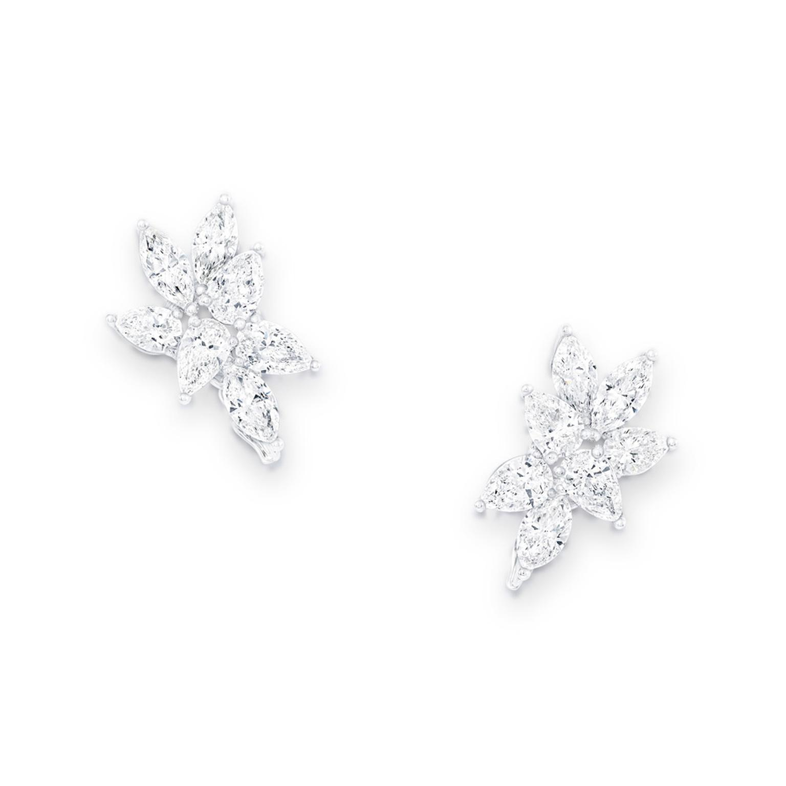 Graff Rhythm collection platinum earrings featuring pear and marquise-shaped diamonds