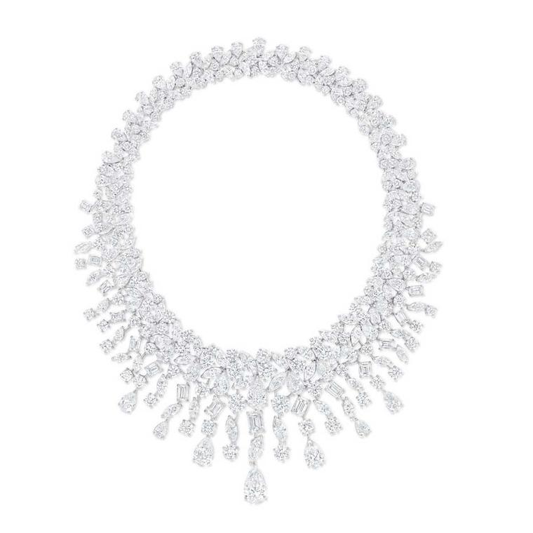 Graff Rhythm collection platinum necklace featuring brilliant, marquise, pear and baguette-shaped diamonds