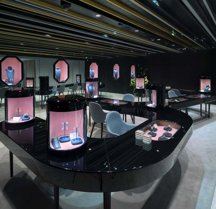 The sleek first floor of of the new Nirav Modi boutique in New Delhi, which boasts a dedicated bridal salon and a workshop where artisans craft jewels as customers look on
