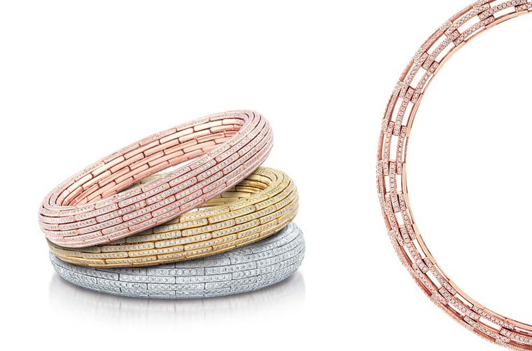 Nirav Modi Embrace collection bangles in yellow, rose and white gold with pavé diamonds