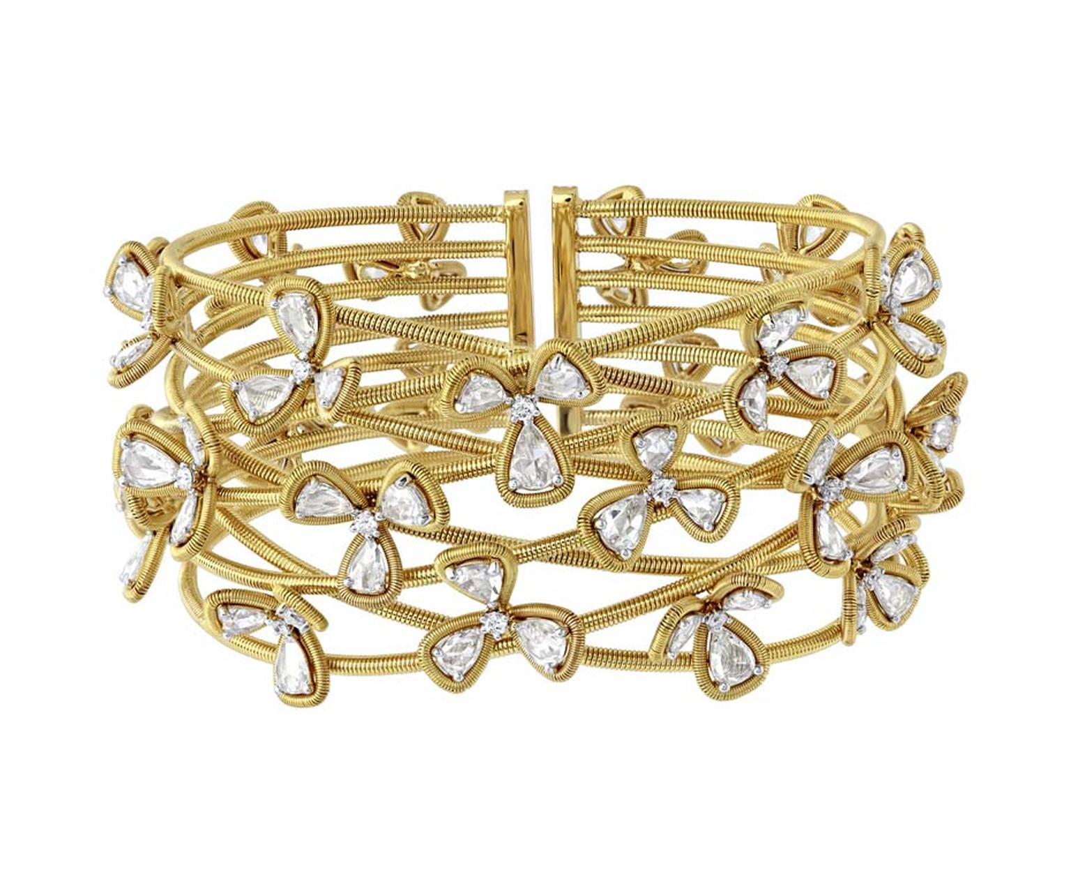 Nirav Modi Orchestra collection yellow gold and diamond Flower Blossoms bangle