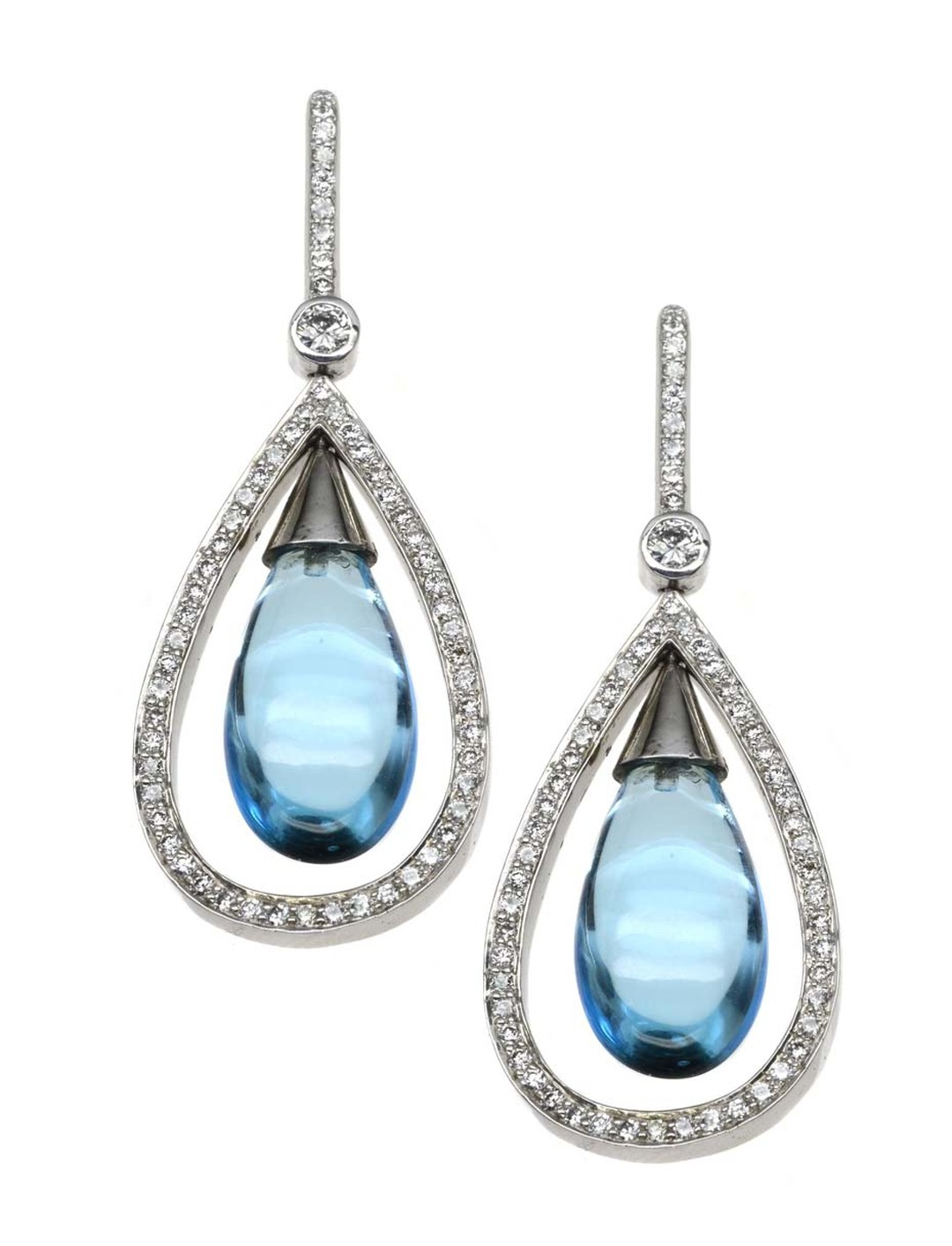 Kevin Charles earrings in white gold with blue topaz and diamonds (£5,250)