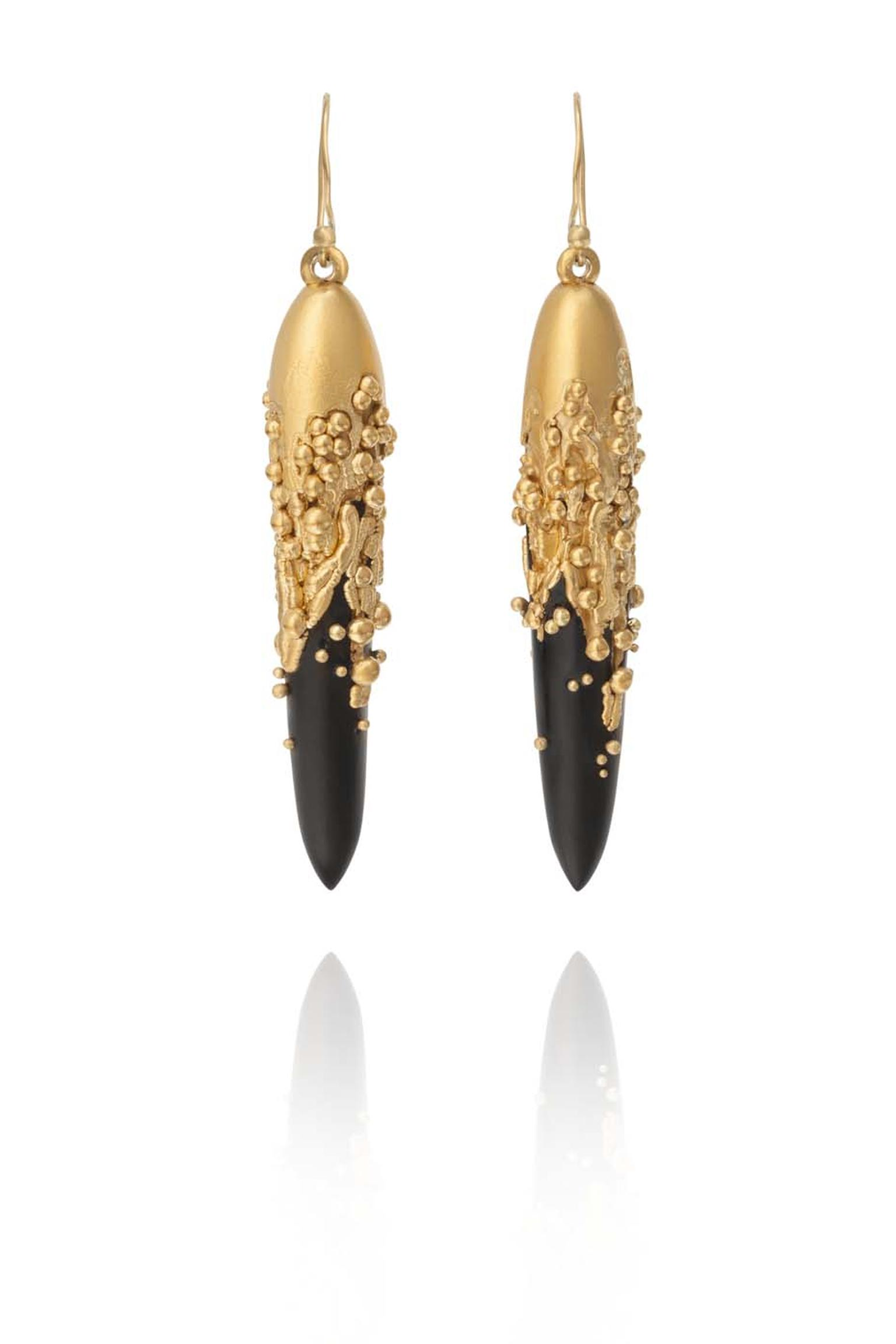 Jacqueline Cullen Whitby jet electro formed earrings in fine silver, gold-plated silver and gold (£650 - £1,250)