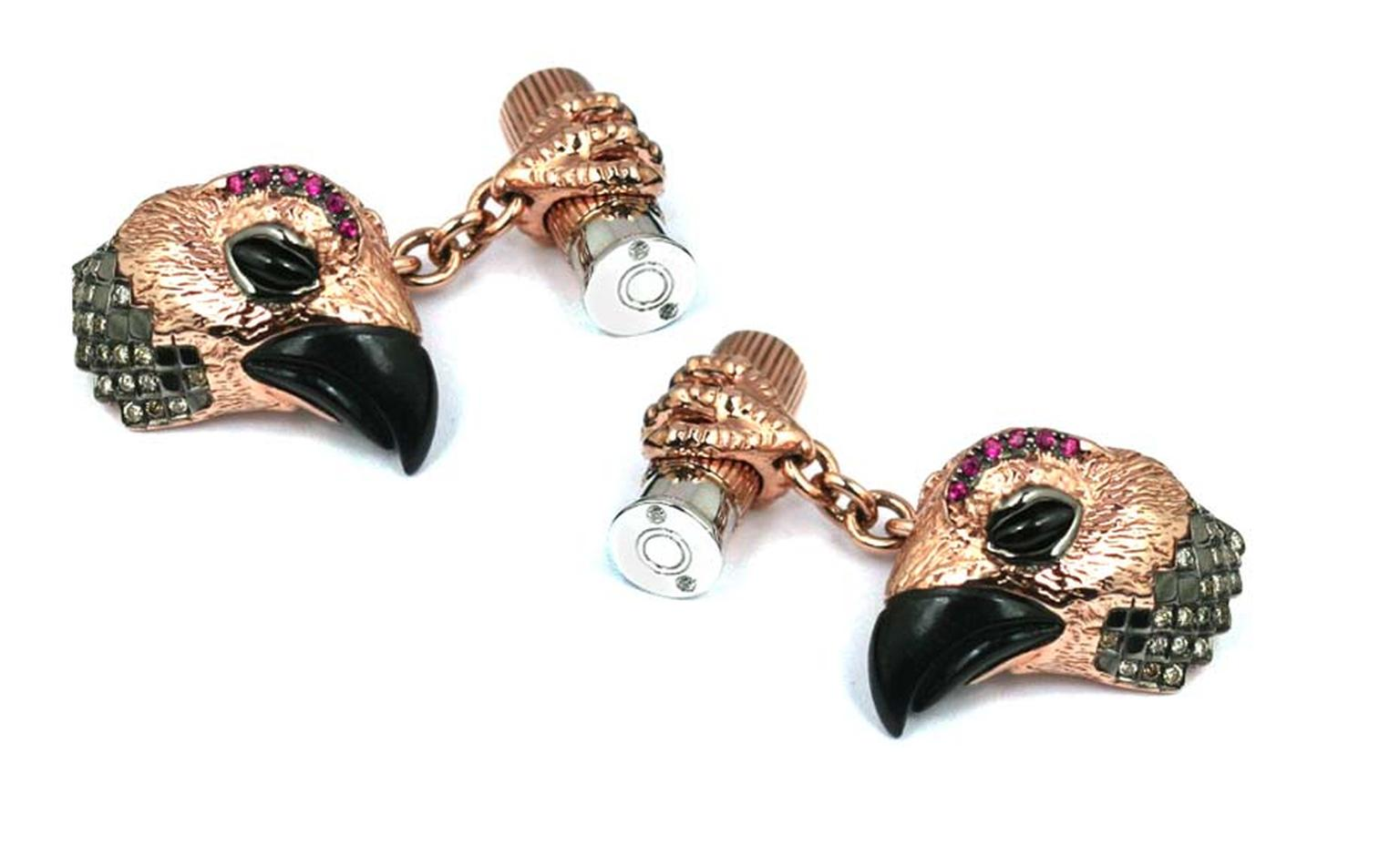 Tomasz Donocik Grouse cufflinks in rose gold with star diopside, black onyx, rubies and brown diamonds (£18,000)