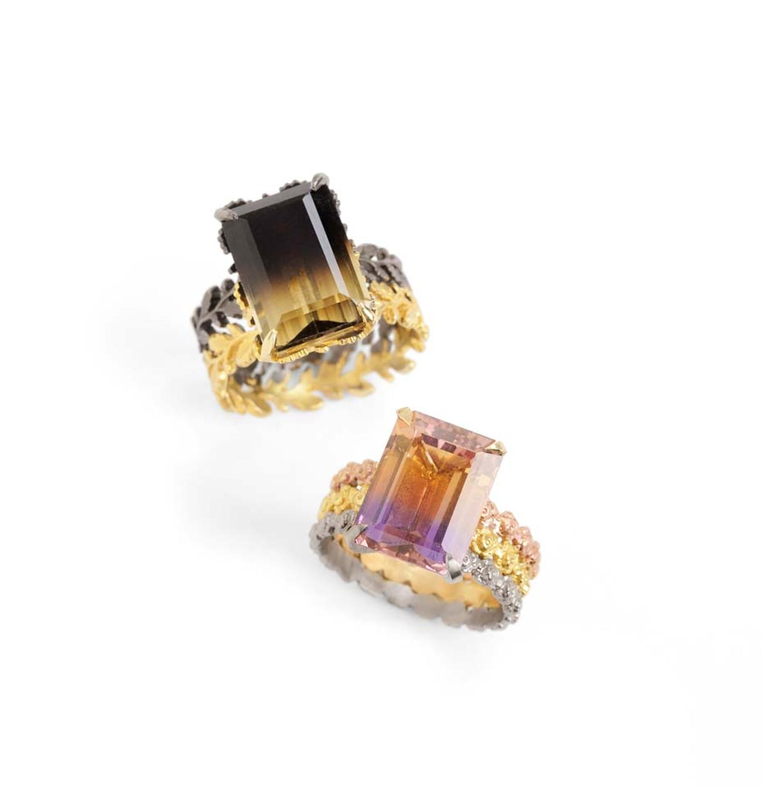 Beth Gilmour Dichroma Rings in various golds, claw-set with bi-coloured quartz and bi-coloured Ametrine (left: £4,500; right: £3,000)
