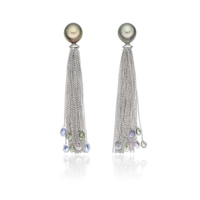 Lily Hastedt white gold Tassle earrings with Tahitian pearls and sapphire briolettes (£3,950)