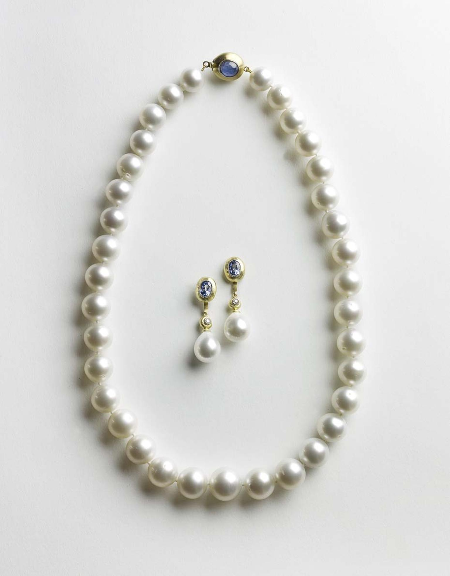 Julia Lloyd George South Sea pearl necklace in yellow gold with a handmade star sapphire clasp (£5,500) with matching sapphire earrings with detachable South Sea pearl drops (£4,250)