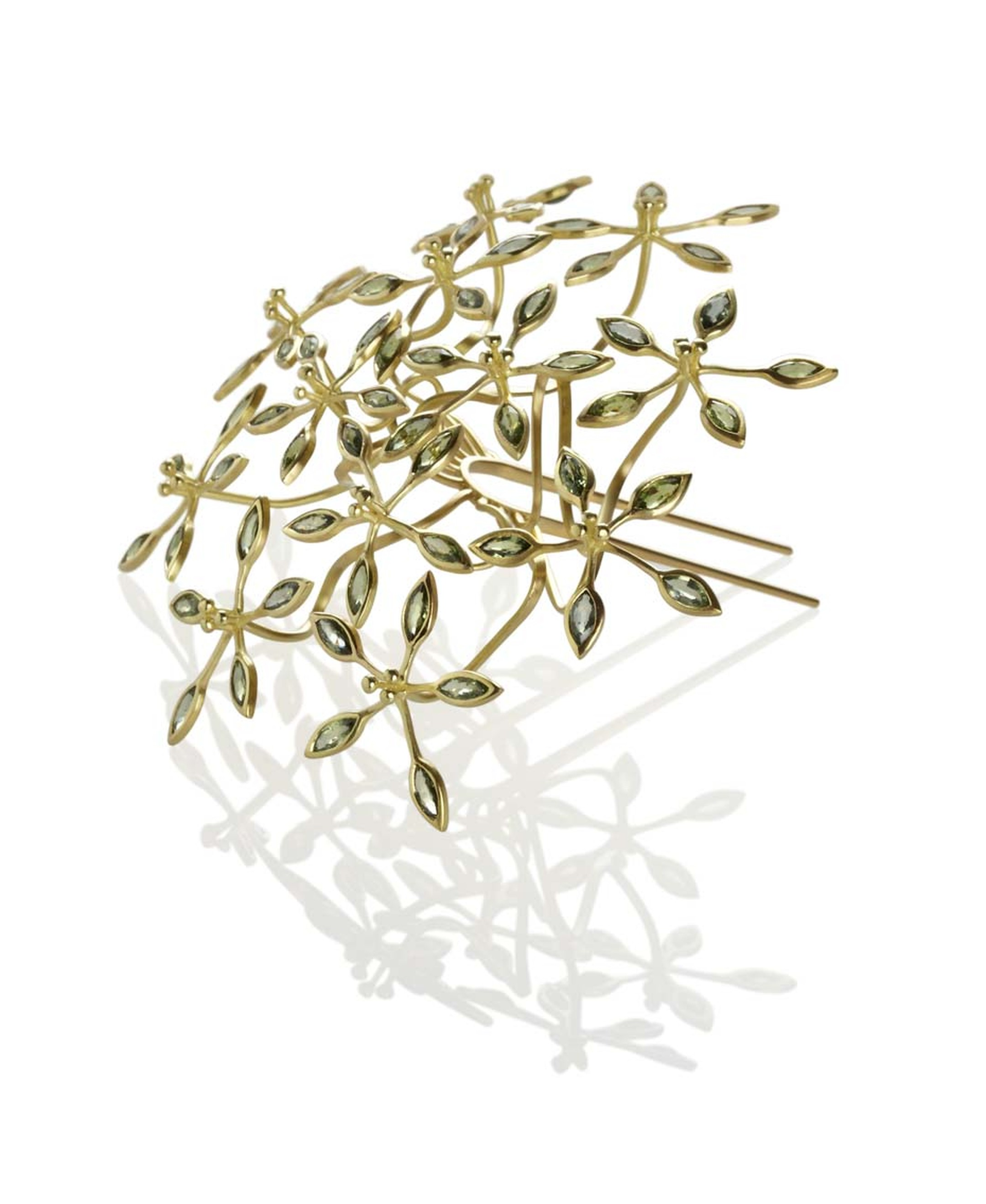 Jo Thorne Passion Flower hairpin in yellow gold set with 60 rare green sapphires (£25,000)