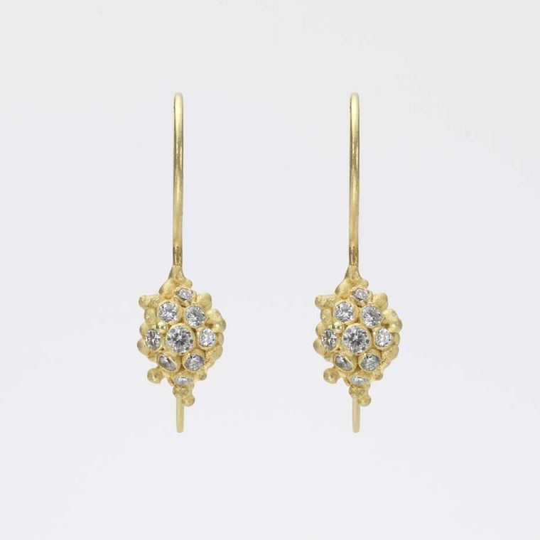 Ruth Tomlinson yellow gold and diamond Cluster drop earrings (£1,250)