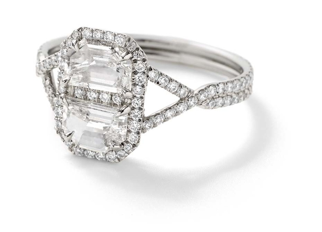 Monique Péan Mineraux engagement ring in recycled platinum, set with a pair of special cut antique white diamonds and white diamond pavé ($22,650)