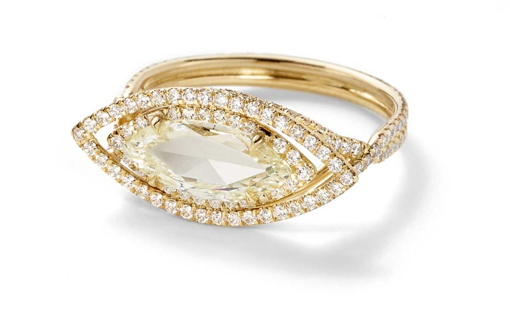 Monique Péan Mineraux engagement ring in recycled yellow gold, set with a light yellow marquise rose cut diamond and diamond pavé ($24,820)