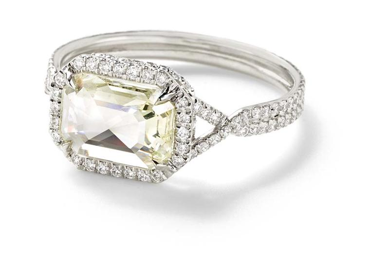 Monique Péan Mineraux engagement ring in recycled platinum set with a light yellow rectangular rose cut diamond and diamond pavé ($22,660)