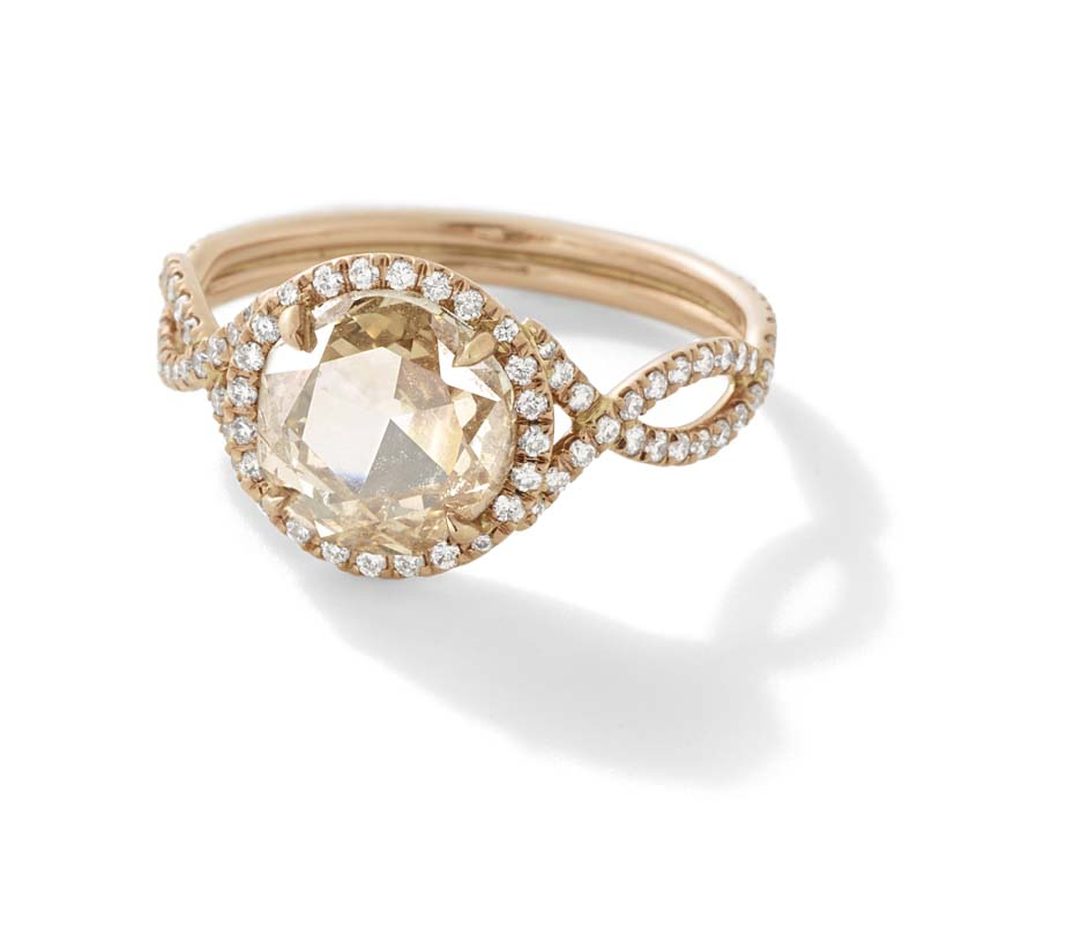 Monique Péan Mineraux engagement ring in recycled rose gold, set with an antique champagne rose cut diamond and diamond pavé ($39,690)