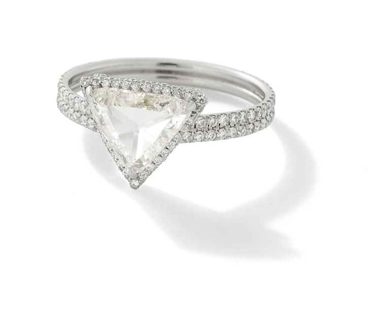 Monique Péan Mineraux collection white trillion rose cut diamond ring with white diamond pavé and recycled platinum ($43,520).