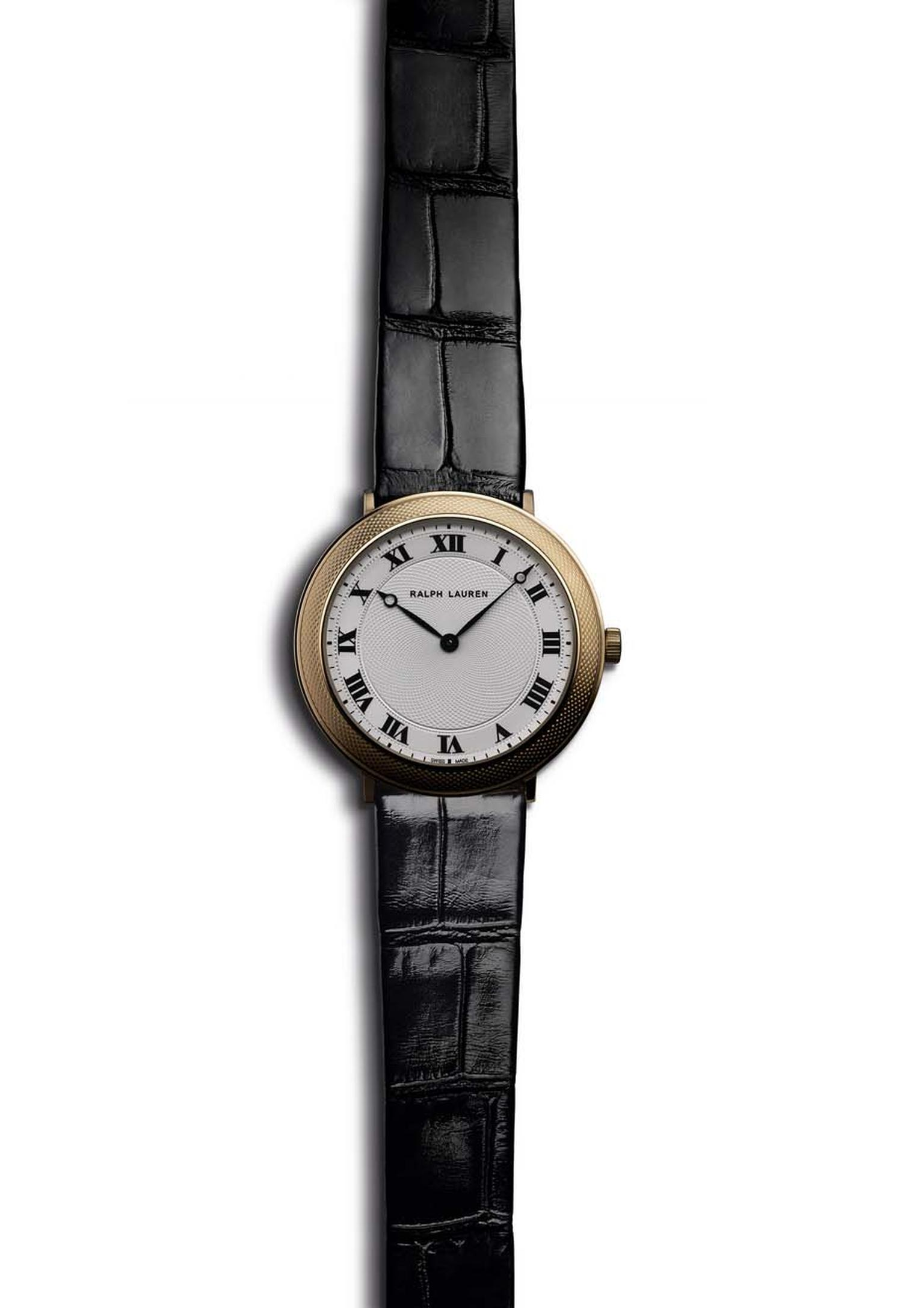 Ralph Lauren Slim Classique 32mm watch in rose gold, decorated on the bezel with guilloché engraving