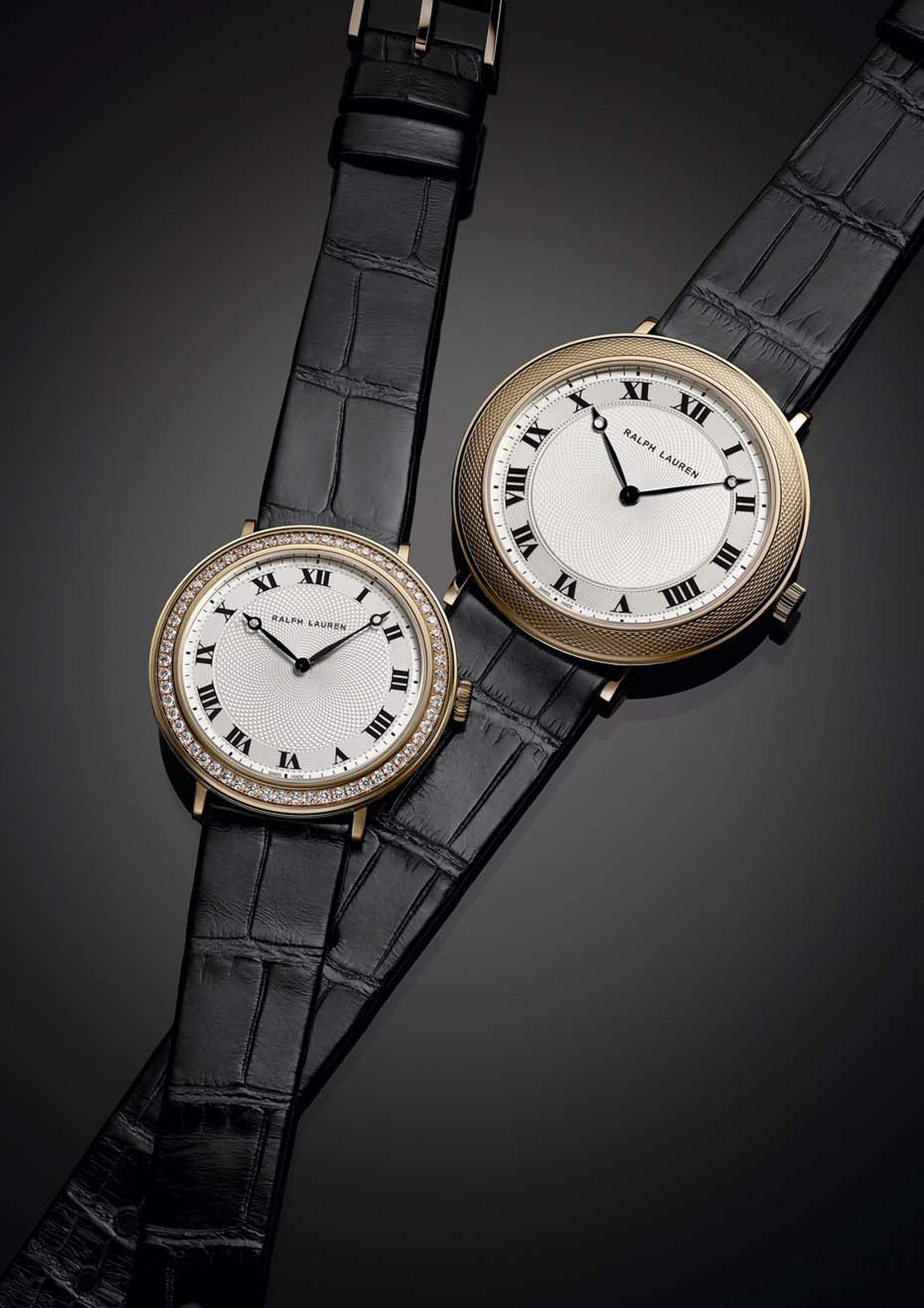 Ralph Lauren Slim Classique 32mm and 42mm watches in rose gold, with or without diamonds around the bezel