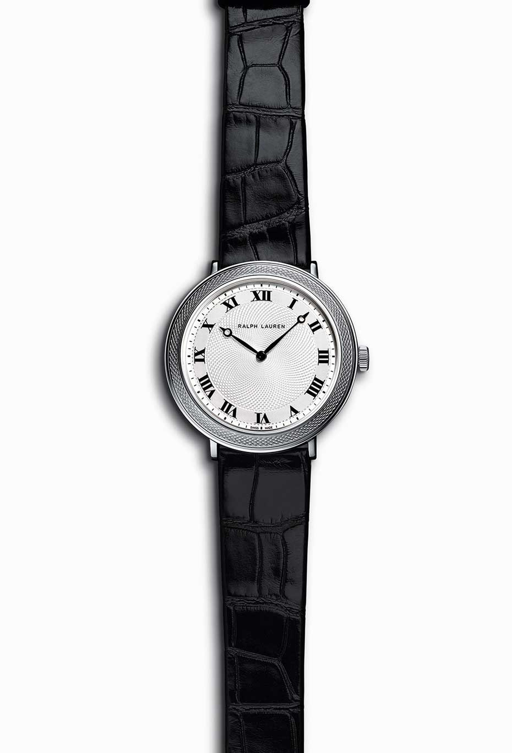 =Ralph Lauren Slim Classique 32mm watch in stainless steel, with intricate guilloché engraving on the bezel