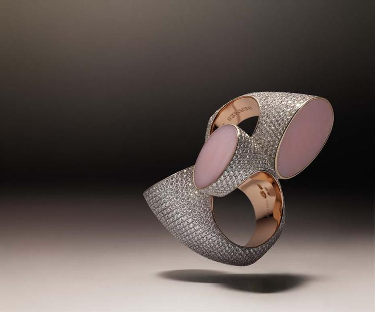 Hermès Centaure double ring in rose and white gold with diamonds and pink opal.