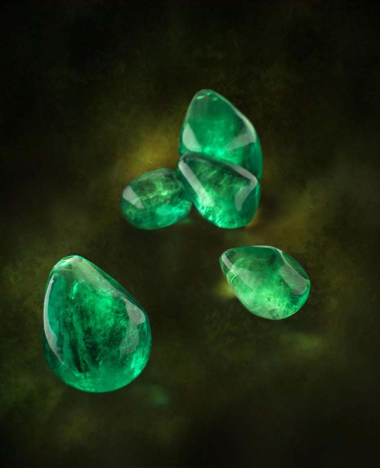 Five of the 23 baroque emeralds that were incorporated into The House of Rose's one-of-a-kind La Reina necklace