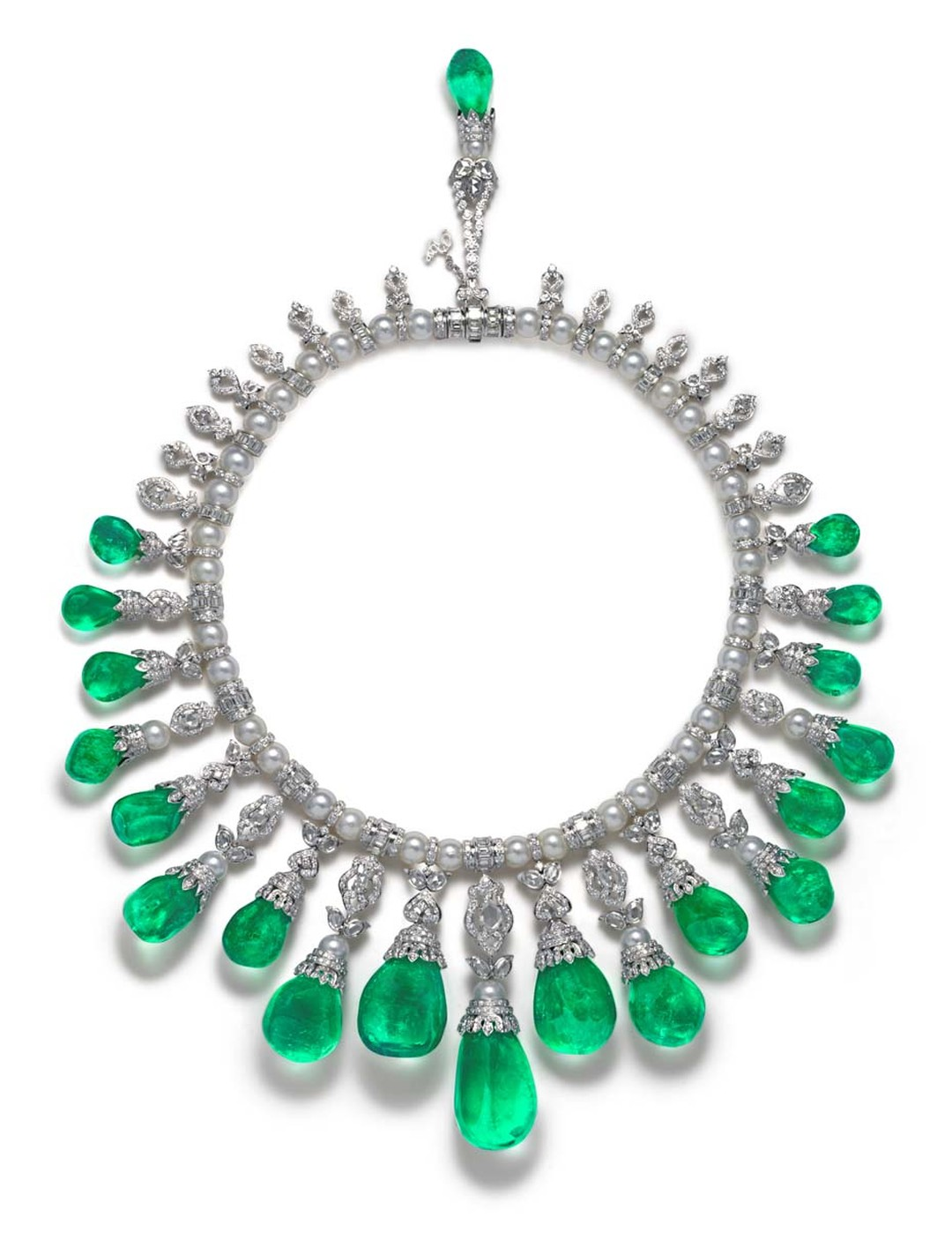The House of Rose's La Reina necklace is part of a suite that also includes a pair of earrings. Combined they feature 23 unique baroque emeralds as well as White South Sea pearls and pear shaped, rose cut, round brilliant cut and baguette diamonds studded