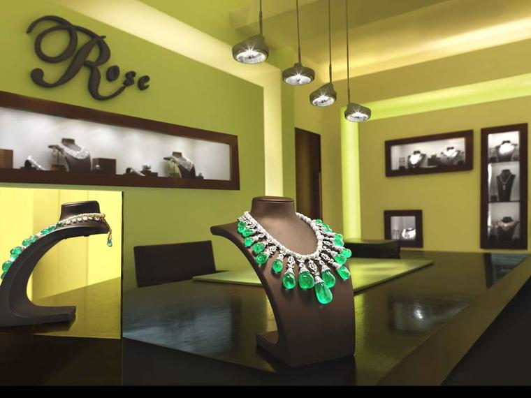 "The House of Rose's La Reina necklace - ""The Queen"" in Spanish - on display in one of the Indian jeweller's boutiques"