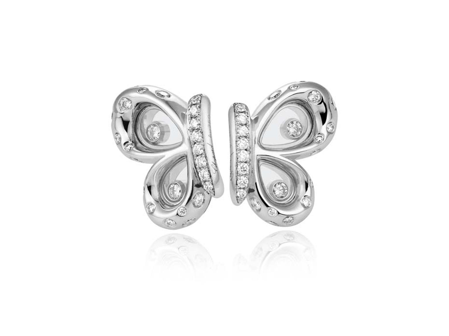 Chopard Happy Diamonds Butterflies earrings in white gold and diamonds