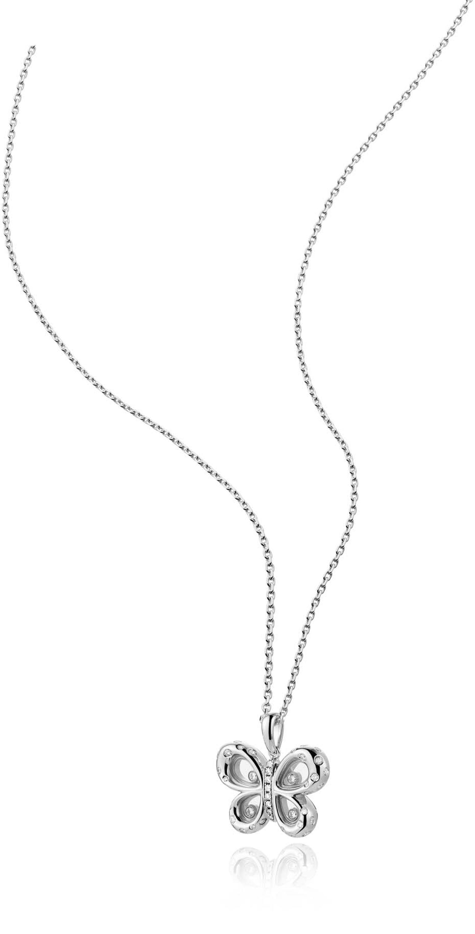 Chopard Happy Diamonds Butterflies necklace in white gold and diamonds