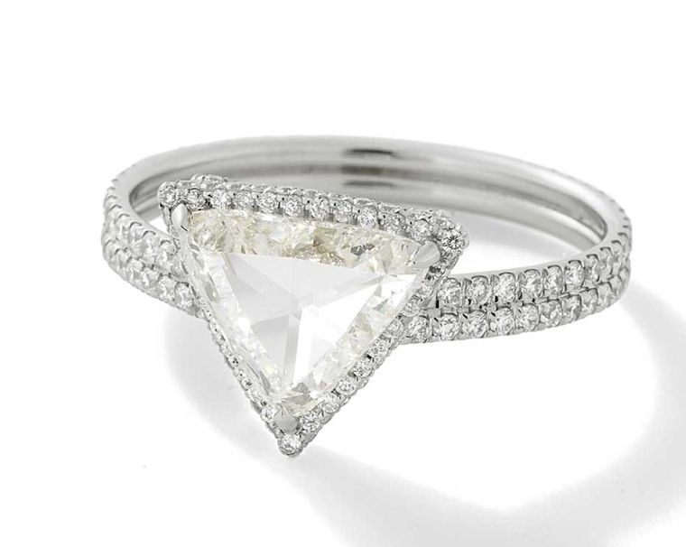 Monique Péan Mineraux engagement ring in recycled platinum, set with a white trillion rose cut diamond and white diamond pavé ($43,520)