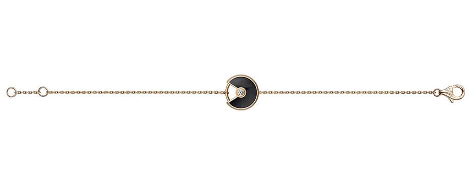 Amulette de Cartier pink gold bracelet with onyx surrounding a brilliant-cut diamond