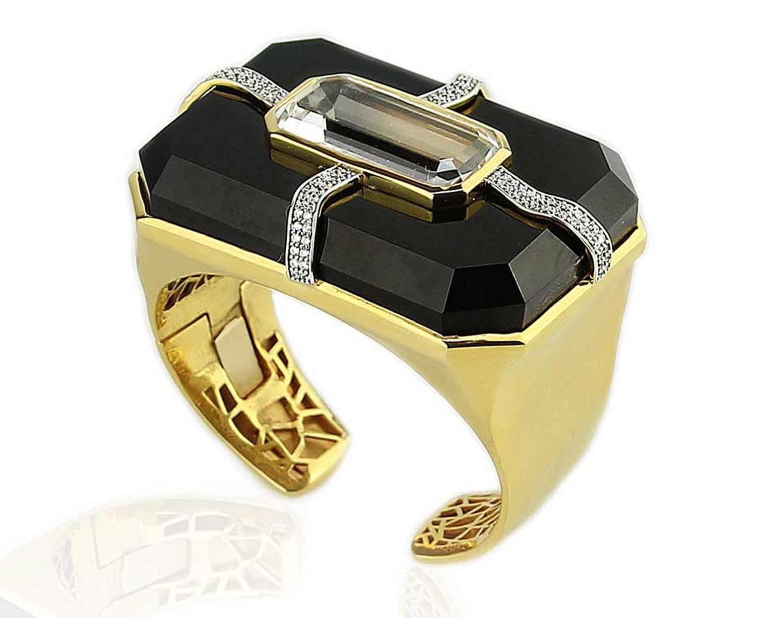 Kara Ross Large Cava Cuff with Pangea Accent in yellow gold with a black onyx base, rock crystal inset and diamonds