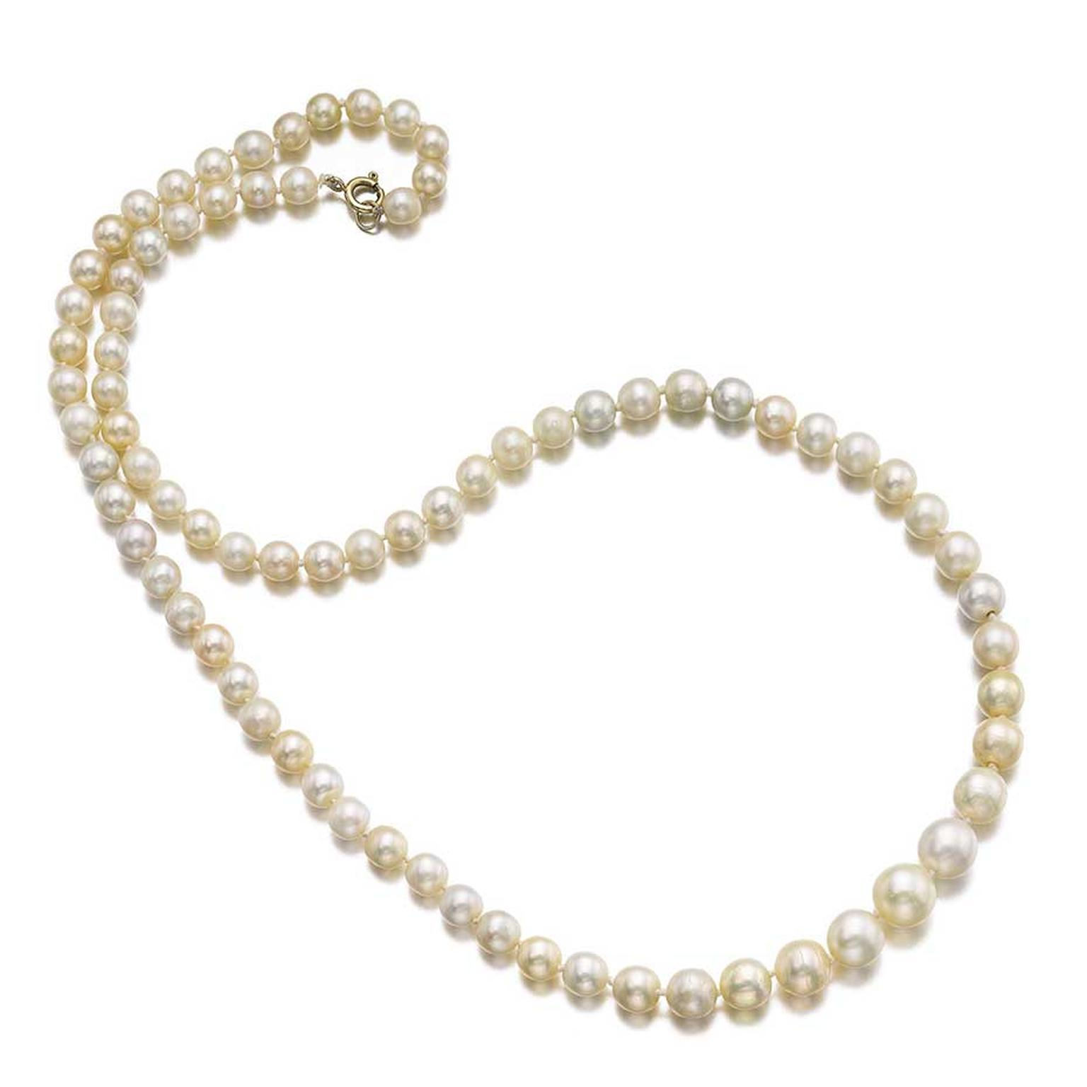 A natural pearl necklace composed of natural pearls measuring from approximately 6.85 to 12.05mm, sold for $830,864, more than 12 times its estimate. (est.$33,821 – $67,642)