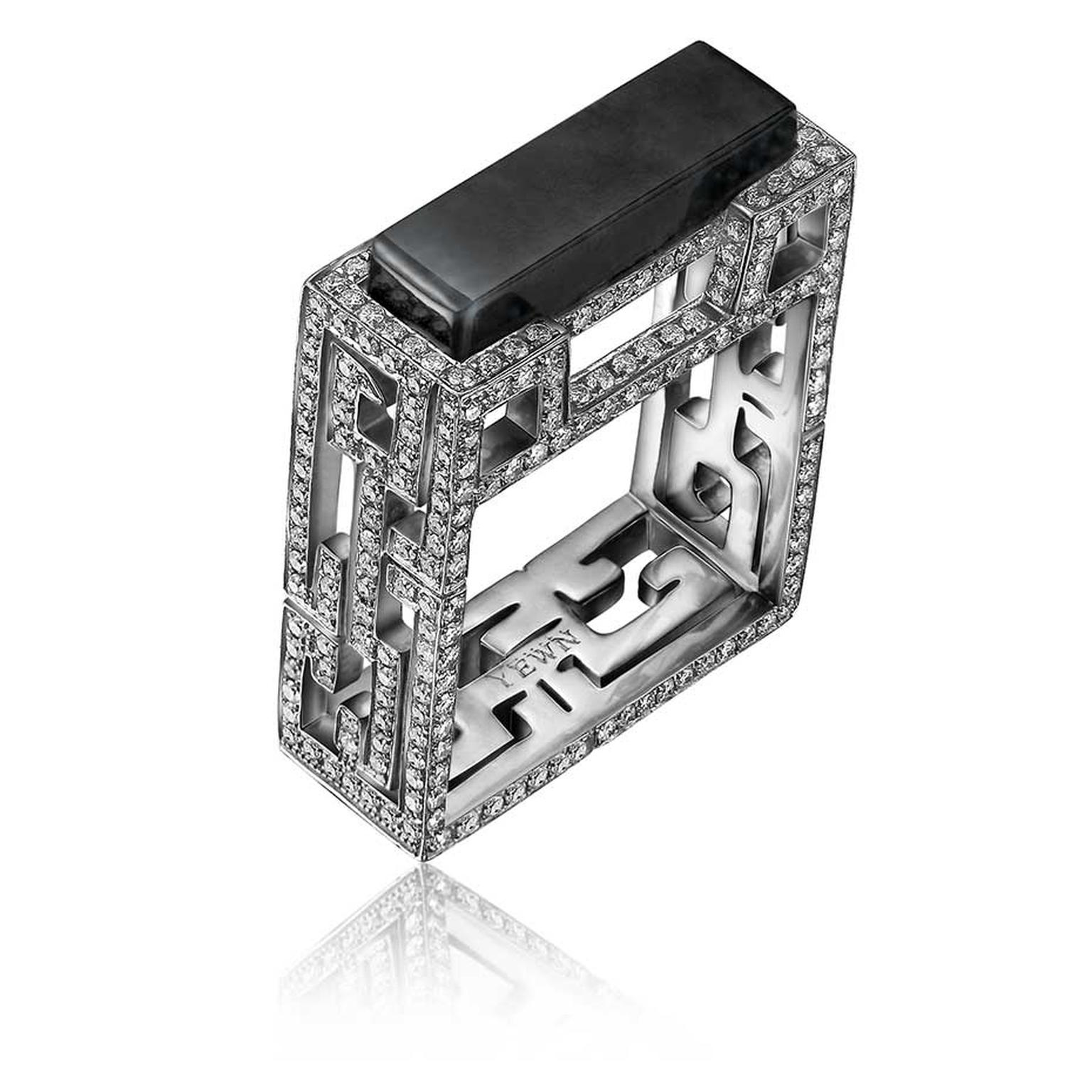 Yewn Chinese Lattice collection black onyx ring with diamonds.