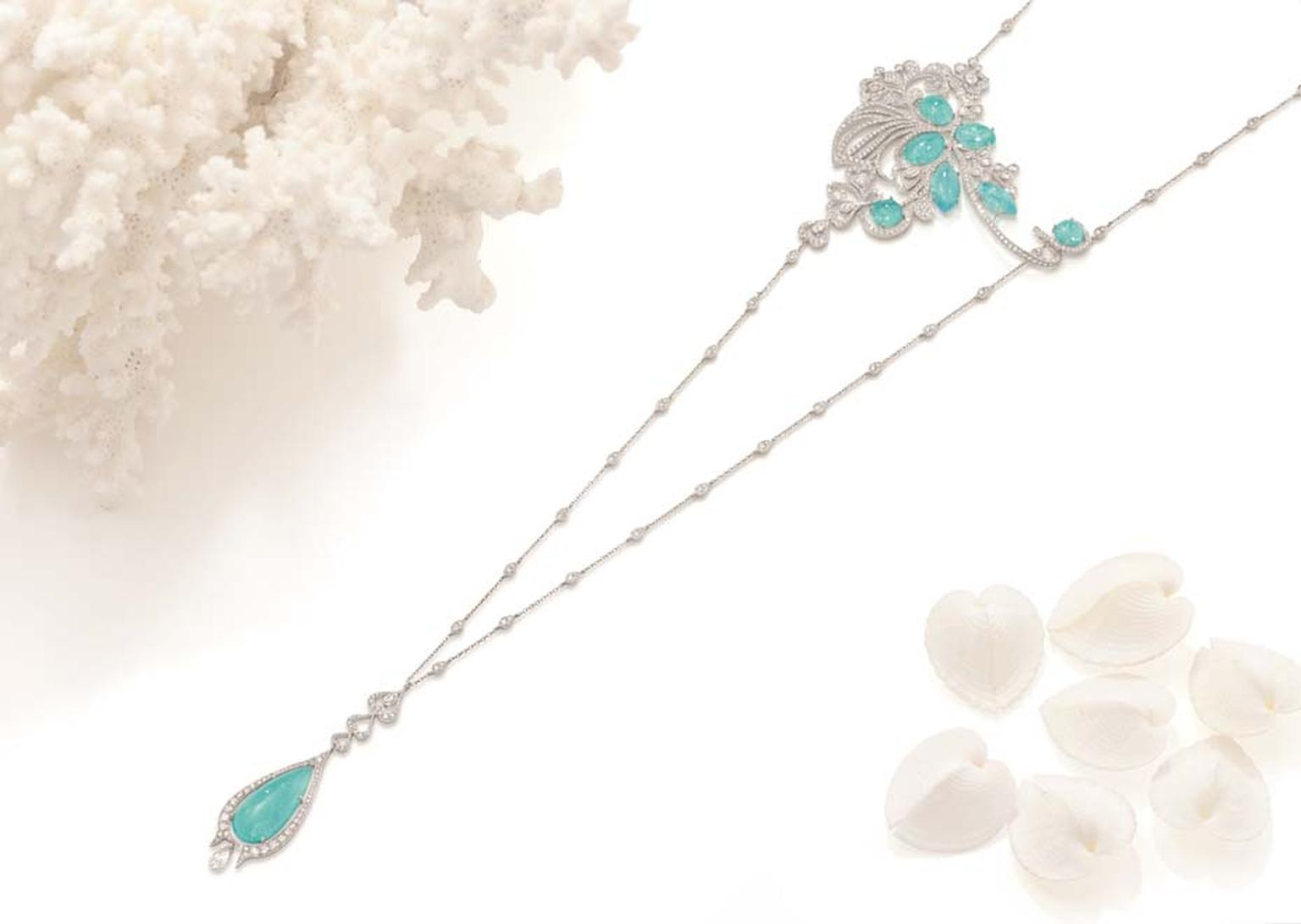 Boodles Atlantic Blue necklace with Paraiba tourmalines and diamonds, from the new 'Ocean of Dreams' collection.
