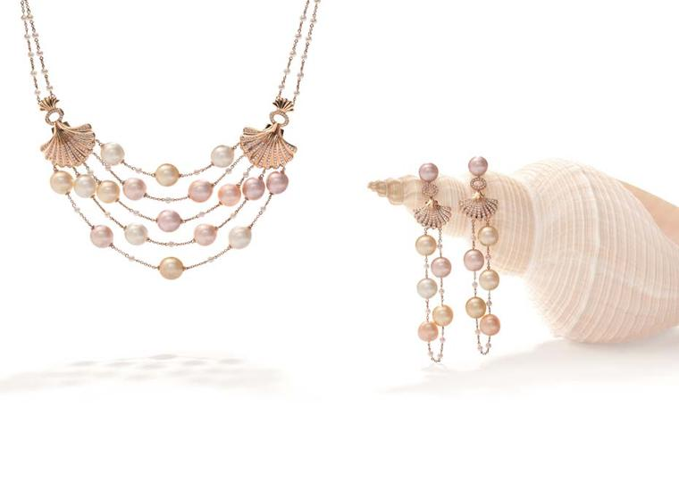 Boodles Deep Sea Treasure necklace and earrings with pink South Sea and freshwater pearls strung in rows between golden shells, from the new 'Ocean of Dreams' collection.
