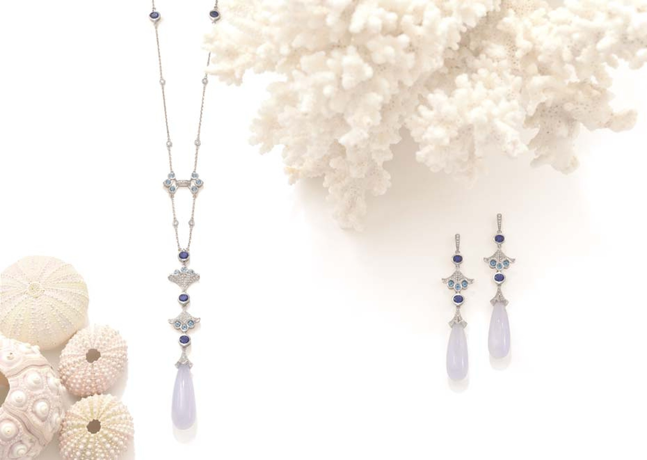 Boodles Ocean Moon necklace and earrings with chalcedony, tanzanite and diamonds, from the new 'Ocean of Dreams' collection.